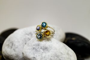 Silbergoldringe Zirkon, Citrin, Tansanit, Aquamarin