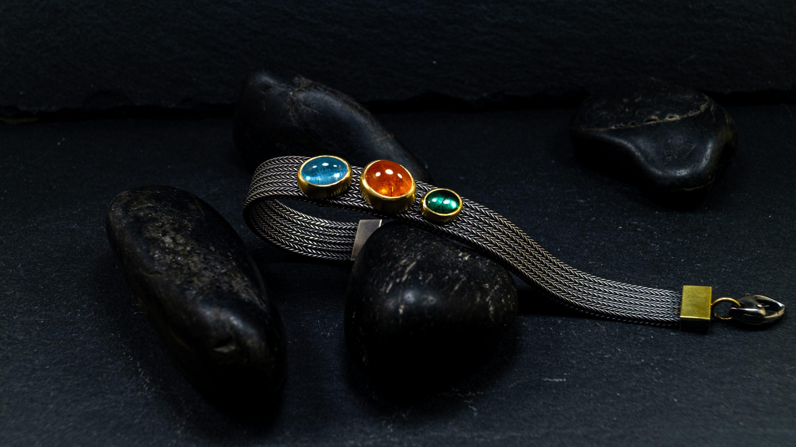 Silbergoldarmband Granat Aqua Turmalin