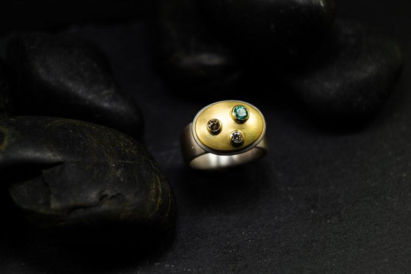 Silbergoldring Turmalin Diamant